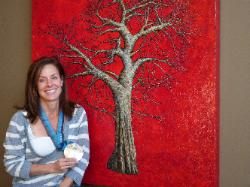 Cheryl Bernard, 2010 Olympic Silver Medalist,Womans Curling (team bernard) with commission painting in Calgary