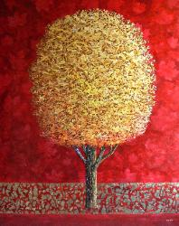 Van Klei painting canadian maple acrylic and gold leaf on canvas