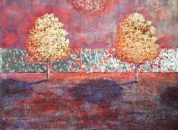 van klei painting double tree acer rubrum acrylic on canvas 30