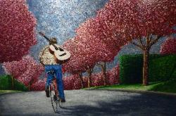 Van Klei. Painting of Ellen Page on Bicycle with Cherry trees inspired by scene of actress in Vancouver while filming the movie JUNO