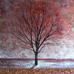 canadian artist daniel van klei painting winter maple acrylic copper leaf on canvas 40